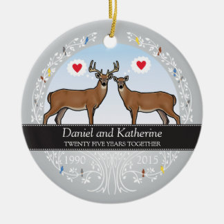 Personalized 25th Wedding Anniversary, Buck & Doe Round Ceramic Decoration
