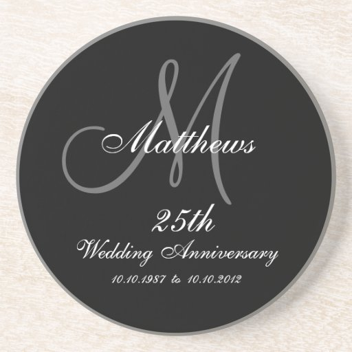 Personalized 25th Wedding Anniversary Coaster