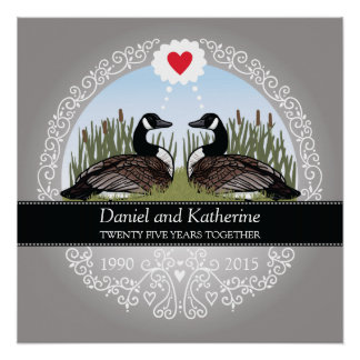 Personalized 25th Wedding Anniversary, Geese