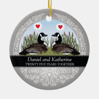 Personalized 25th Wedding Anniversary, Geese Round Ceramic Decoration