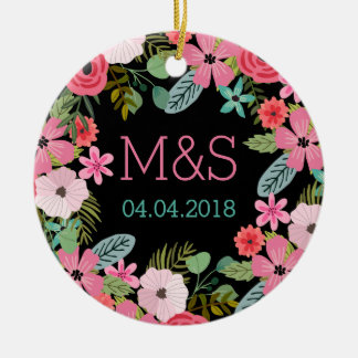 Personalized 2 sided wedding ornament Boho floral