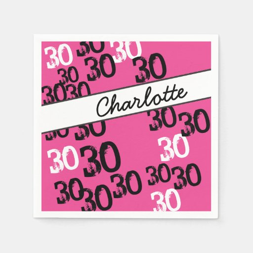Personalized 30th Birthday Party Napkins Wild Pink Disposable Napkin