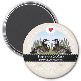 Personalized 30th Wedding Anniversary, Geese 7.5 Cm Round Magnet