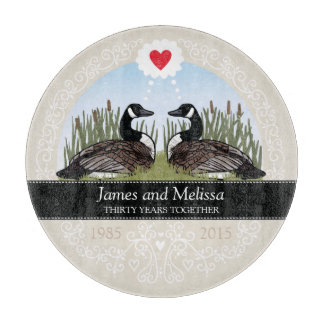 Personalized 30th Wedding Anniversary, Geese Cutting Board
