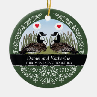 Personalized 35th Wedding Anniversary, Geese Christmas Ornament