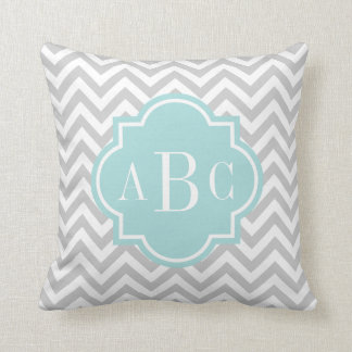 Personalized 3 letter monogram throw pillow | gray