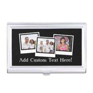 Personalized 3-Photo Snapshot Frames Custom Color Business Card Holder