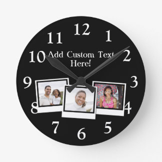 Personalized 3-Photo Snapshot Frames Custom Color Wallclocks