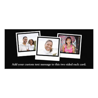 Personalized 3-Photo Snapshot Frames Custom Color Full Colour Rack Card