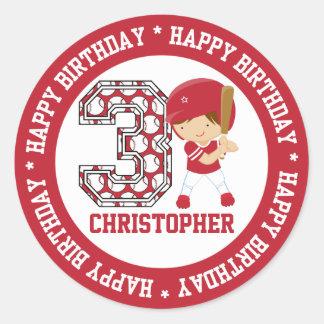 Personalized 3rd Birthday Baseball Batter Red Round Sticker
