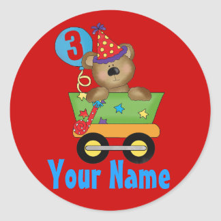 Personalized 3rd birthday bear stickers
