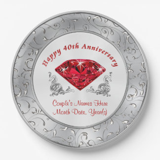 Personalized 40th Anniversary Paper Plates 9 Inch Paper Plate