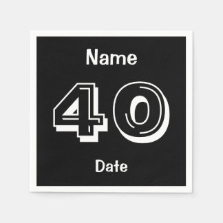 Personalized 40th Birthday Black Party Supplies Disposable Serviette