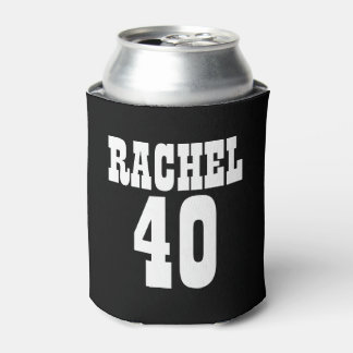 Personalized 40th Birthday Black White Can Cooler
