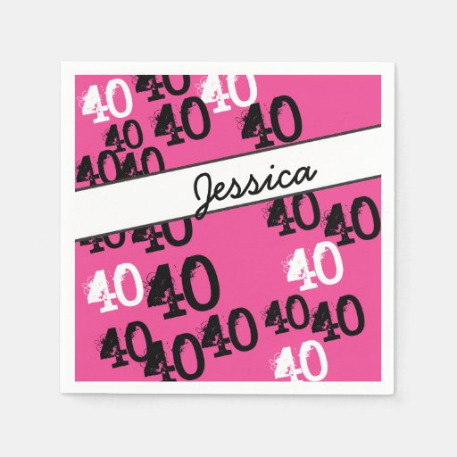 Personalized 40th Birthday Party Napkins Wild Pink Paper Napkins
