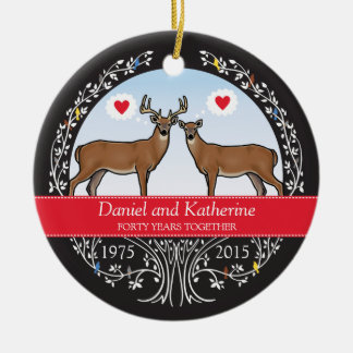 Personalized 40th Wedding Anniversary, Buck & Doe Round Ceramic Decoration