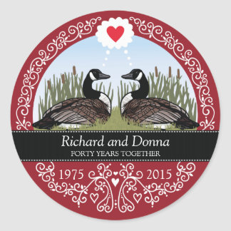 Personalized 40th Wedding Anniversary, Geese Classic Round Sticker