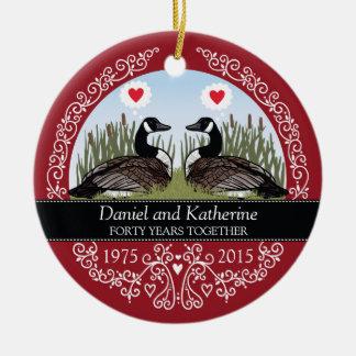 Personalized 40th Wedding Anniversary, Geese Round Ceramic Decoration