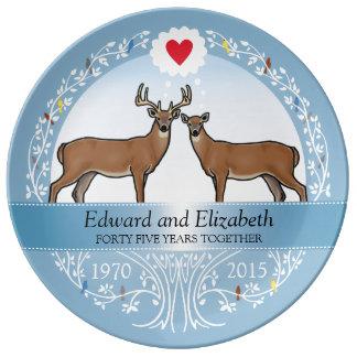 Personalized 45th Wedding Anniversary, Buck & Doe Plate
