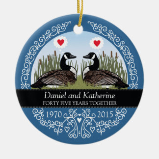 Personalized 45th Wedding Anniversary, Geese Christmas Ornament