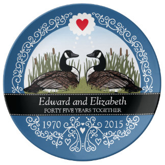 Personalized 45th Wedding Anniversary, Geese Porcelain Plates
