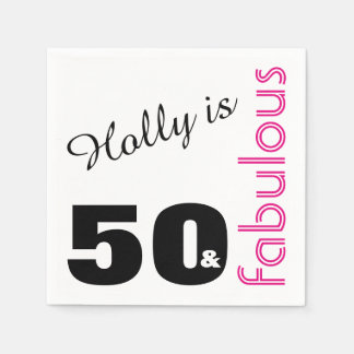 Personalized 50 and Fabulous Themed 50th Birthday Disposable Serviette