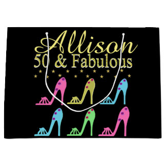 PERSONALIZED 50 & FABULOUS SHOE QUEEN GIFT BAG