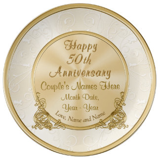 Personalized 50th Anniversary Gift, 3 Text Boxes Porcelain Plate