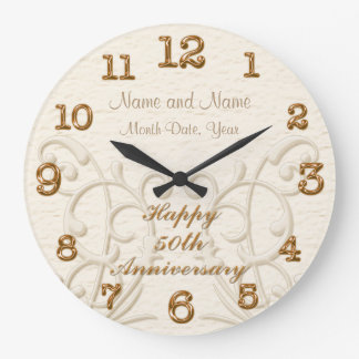 Personalized 50th Anniversary Gifts for Parents Large Clock