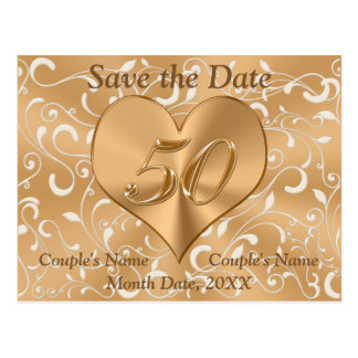 Personalized 50th Anniversary Save the Date Cards Postcard