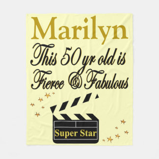 PERSONALIZED 50TH BIRTHDAY MOVIE STAR BLANKET