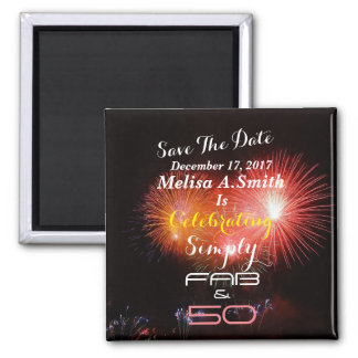 Personalized 50th Birthday Name & Date - Square Magnet