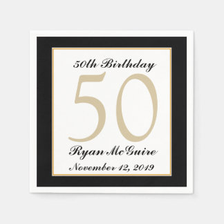 Personalized 50th Birthday Party Napkins Disposable Serviettes