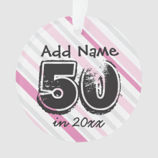 Personalized 50th Birthday Pink Ornament