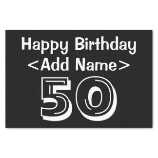 Personalized 50th Birthday Themed Tissue Paper