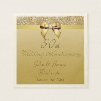 Personalized 50th Gold Wedding Anniversary Disposable Napkin
