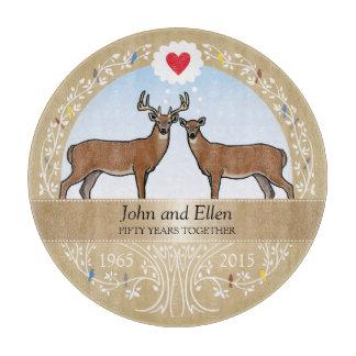 Personalized 50th Wedding Anniversary, Buck & Doe Cutting Board