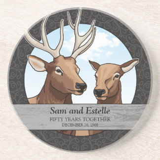 Personalized 50th Wedding Anniversary, Elk Pair Coaster