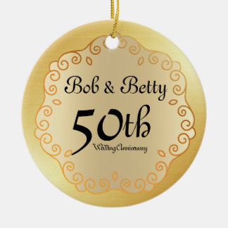 Personalized 50th Wedding Anniversary Gold Christmas Ornament