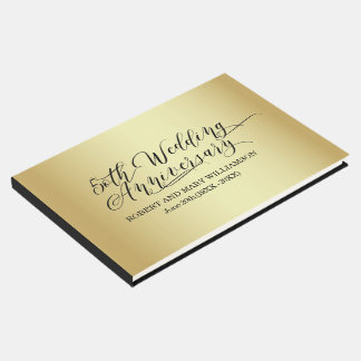 Personalized 50th Wedding Anniversary Gold Guest Book