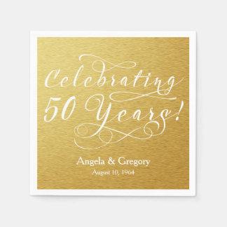 Personalized 50th Wedding Anniversary Gold White Disposable Napkin