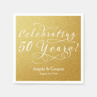 Personalized 50th Wedding Anniversary Gold White Disposable Serviettes