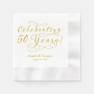 Personalized 50th Wedding Anniversary Gold White Paper Napkin
