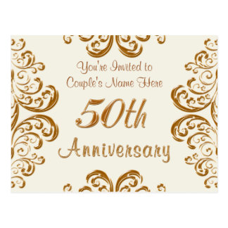 Personalized 50th Wedding Anniversary Invitations Postcard