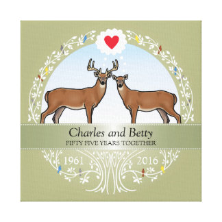 Personalized 55th Wedding Anniversary, Buck & Doe Canvas Print
