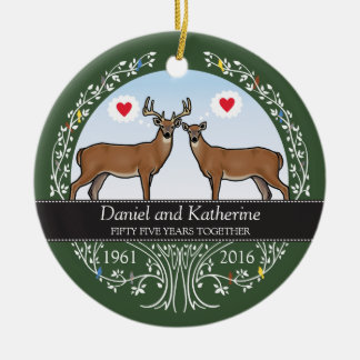 Personalized 55th Wedding Anniversary, Buck & Doe Round Ceramic Decoration