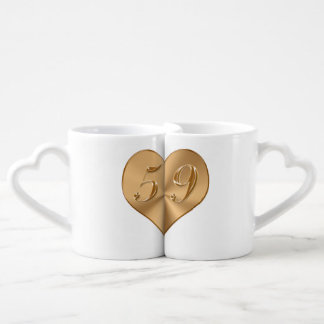 PERSONALIZED 59th Wedding Anniversary Heart Mugs