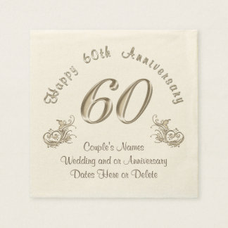 PERSONALIZED 60th Wedding Anniversary Napkins Disposable Serviette