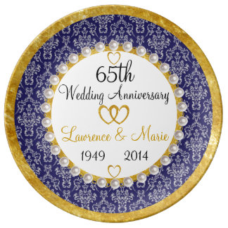 Personalized 65th Anniversary Porcelain Plate