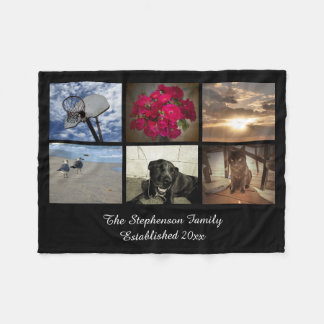 Personalized 6 Photo Text Mosaic Picture Collage Fleece Blanket